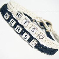 His and Hers Bracelets for Couples Black and White Hemp, Set of 2
