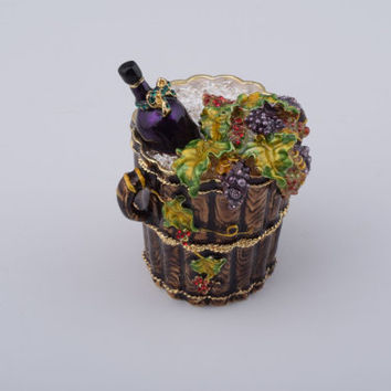 Wine and Graps Bucket Decorated with Swarovski Crystals Faberge Styled Trinket Box Handmade by Keren Kopal