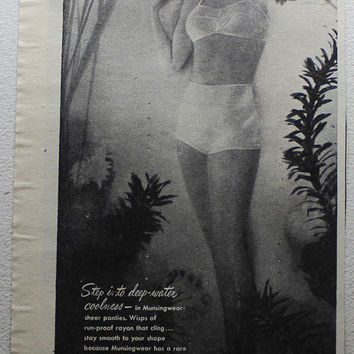 Vintage 1945 Munsingwear Sheer Pantie Pin-up Girl Smooth Ad Advertising Print Wall Art Decor