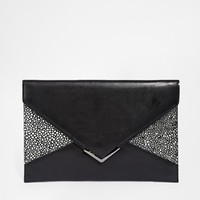 Faith Black & White Lizard Enevlope Clutch