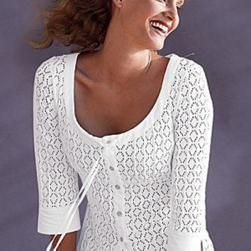 White (WH) Scoop Neck Blouse