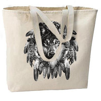 Charcoal Wolf Dream Catcher New Large Tote Bag