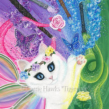 White Fairy Cat Art Cat Painting Springtime Magic Rainbow Tarot 4 of Wands Fantasy Cat Art Print 8x10 Cat Lovers Art