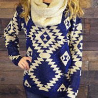 Vermont Breeze Navy Aztec Pullover Sweater