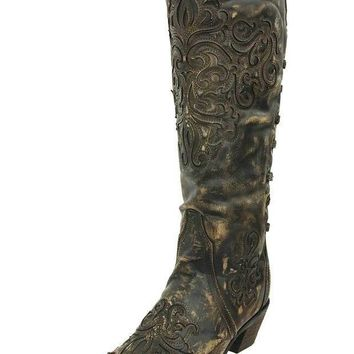 ICIKAB3 Corral Brown-Bone Inlay Back Strap Boots A3299
