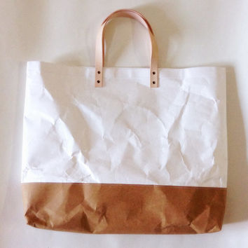 Shopper Two tone kraft tyvek paper bag