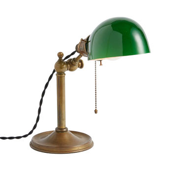 Industrial Desk Lamp w/ Green Emeralite Shade