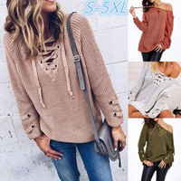 Women Fashion Long Sleeve Bandage V-neck Pure Color Knit Sweater WZC5866 [9145171014]