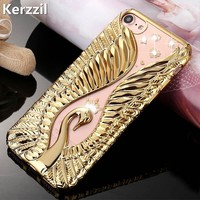 Kerzzil Bling Swan Crystal Diamond Phone Case For iPhone 7 6 6S Plus Soft Rhinestones Cover Back For iPhone 6 7 6S Capa Coque