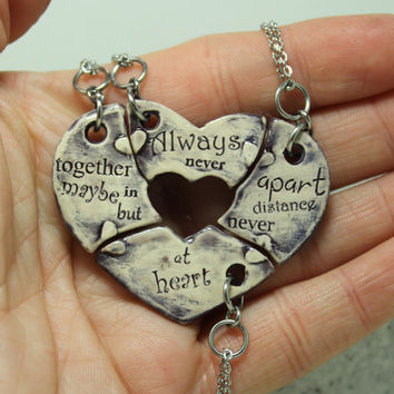 Friendship Heart pendants set of 4 pottery pieces Your Color Choice  Always together quote Made to order