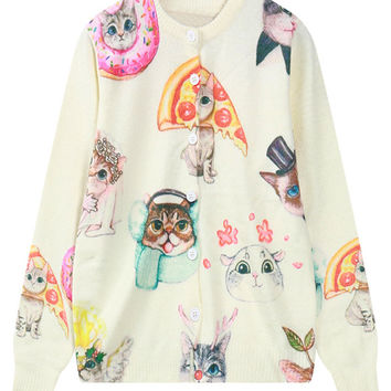Cream Cute Cat Knitted Button Front Cardigan