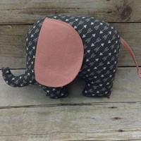 Coral & Gray Arrow Elephant Plushie - stuffed animal - baby girl toy - gray coral nursery elephant decor