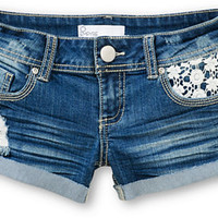 Empyre Crochet Pocket Dark Wash Denim Shorts
