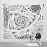 GET LOST - Black and White Spiral Wall Tapestry by Nirvana.K | Society6