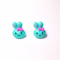 Handmade Kawaii Cute Bunny Earrings Turquoise Teal Happy Face Bunny Easter earrings