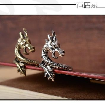 2017 Fashion exaggerated personality Chinese Dragon Ring Resizeable Open Adjust Finger Ring For Men Punk Gothic Jewelry Gift