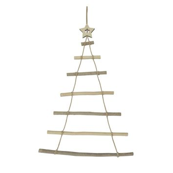"31"" Rustic Natural Wood Wall Hanging Twig Tree with Star Christmas Decoration"