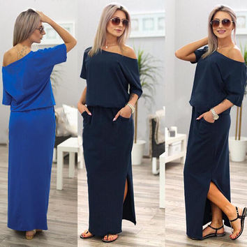 Women Boho Maxi Dress Short Sleeve Side Slit Loose Fit/ with Pockets