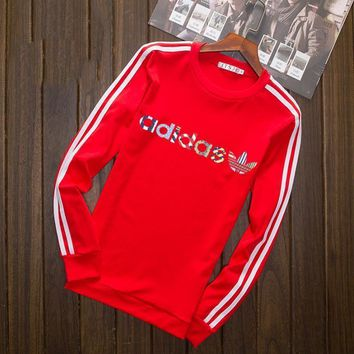 Adidas Multi-color Letter and Logo Print Long Sleeve Sweater(5-Color) Red I-YSSA-Z