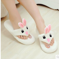 The New Rabbit Soft Bottom Drag Home Slippers Waterproof Thick Cotton Cute Female Winter Indoor Warm Home Shoes