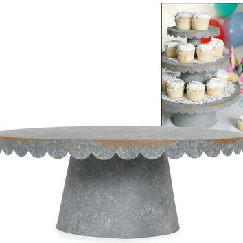 Large Rustic Scalloped Cake Stand