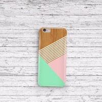 Mint Champagne Pink Striped Wood iPhone 5 5c 6 6plus and Samsung Galaxy S5 Case