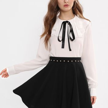 Beading Waist Boxed Pleated Skirt