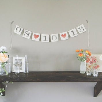 Save The Date Personalized Wedding Banner, wedding decor, bridal shower, bunting, garland, pennant