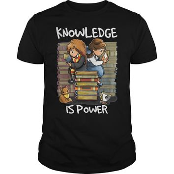 Hermione and Belle knowledge is power shirt Premium Fitted Guys Tee