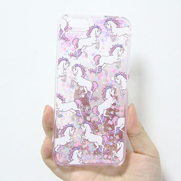 Unicorn Waterfall iPhone 6S 6 Plus 5S 5 SE Hard Case Fluorescent Glitter N0036