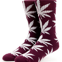 HUF Plantlife Maroon & White Crew Socks at Zumiez : PDP