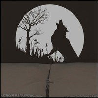 Howling GRAY WOLF and FULL MOON Vinyl Wall Decals Stickers art graphic | TouchofVinyl - Housewares on ArtFire