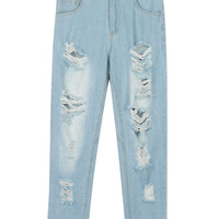 Light Wash Blue Ripped Boyfriend Cropped Jeans