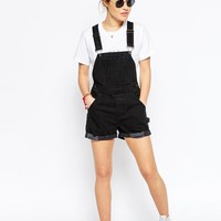 ASOS Petite | ASOS PETITE Denim Overall Shorts in Washed Black at ASOS