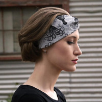 20000 Leagues Vintage Headband: Retro Octopus Steampunk Print, Black & Grey Faux Head Wrap for Adults, 100% Cotton Fabric