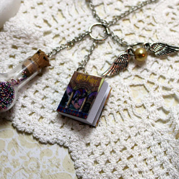Harry Potter Book Charm Necklace by ShinyDoodadsJewelry on Etsy