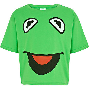 River Island Girls green Kermit the frog cropped t-shirt
