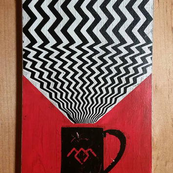 Twin Peaks Poster, Damn Good Coffee Handpainted Art on Wood
