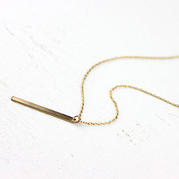 Gold Bar Necklace  simple minimalist skinny 14 karat by petitor