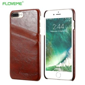 FLOVEME 5s SE Business Card Holder Cover For iPhone 5 5s SE PU Leather Case For iPhone 7 7 Plus Protective Back Cover 6 6s Plus