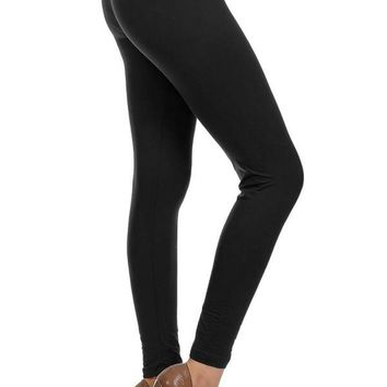 Women's Black Leggings Solid Black: OS/PLUS