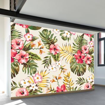 Tropical Flowers Wall Mural