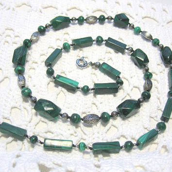 Genuine Malachite Necklace, Vintage Look, Emerald Green Long Necklace with a Centerpiece