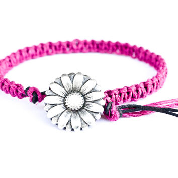 Flower Fuchsia Hemp Friendship Bracelet