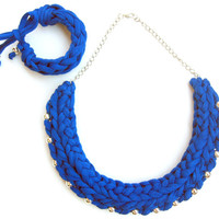 Blue Cotton Necklace Tshirt yarn Necklace, Cotton jersey Necklace, Electric Blue Necklace, Cotton Choker, Woman Gift, Anniversary Gift,