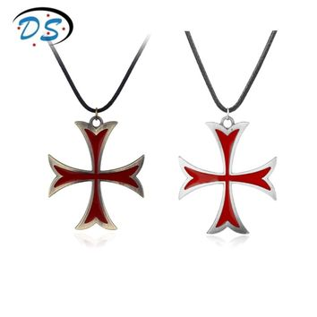 Movie Jewellery Necklace Assassins Creed Templar Cross Pendant Necklace Leather Cord Rope Cross Necklace for men women accessory
