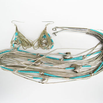 Carolyn Pollack Fetish Bears Turquoise Necklace and Pierced Earrings Liquid Silver Sterling Set QVC