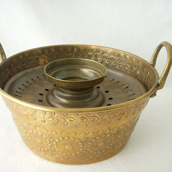 Rustic French Copper Brass Pan - French Repousse Steamer Pot with Handles - Serpent Mark