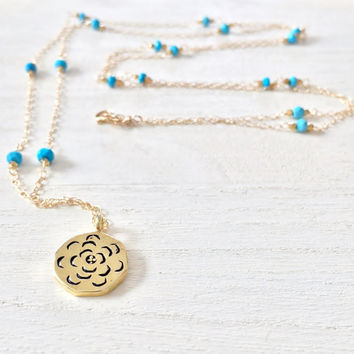 Super Long, Turquoise and Gold Vermeil, Charm Necklace, Pendant Necklace with Gold Nugget Beads and 14k Gold Filled Chain