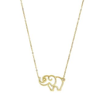 14k Yellow Gold Polished Elephant Silhoutte Pendant Oval Cable Chain Necklace, 17""